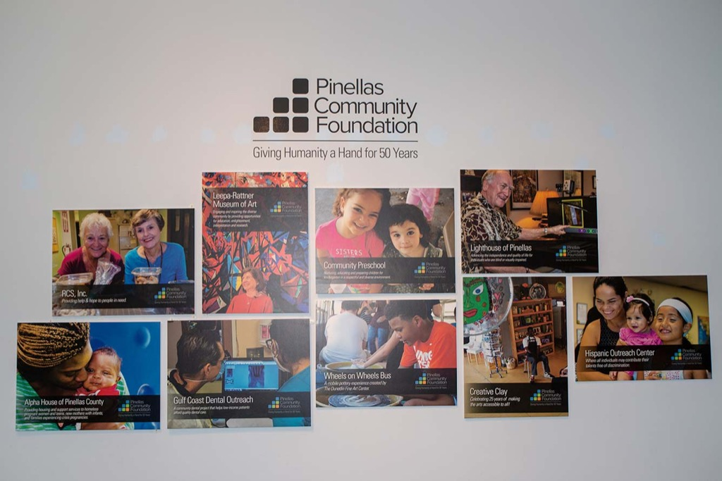 Wall of organizations helped by Pinellas Community Foundation