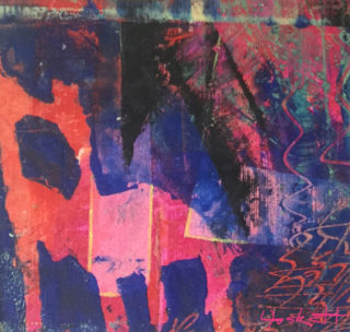Abstract painting of a chair in shades or blue, pink, purple, black, titled Carnaval by Lynn Foskett Pierson, 2018.