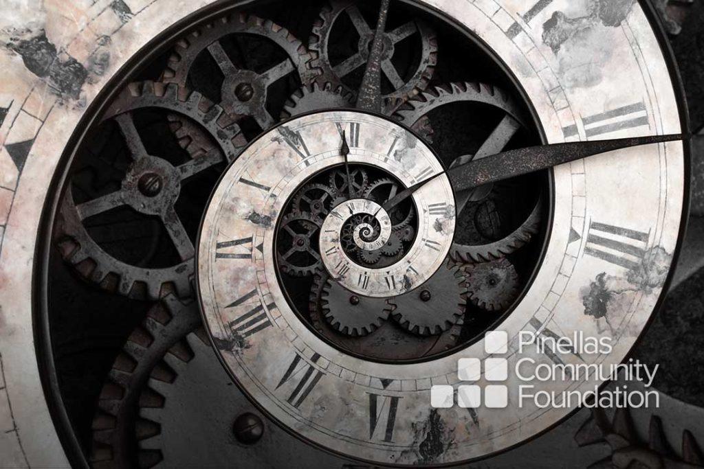 Abstract spiraling clock shows eternal wait for inspiration.