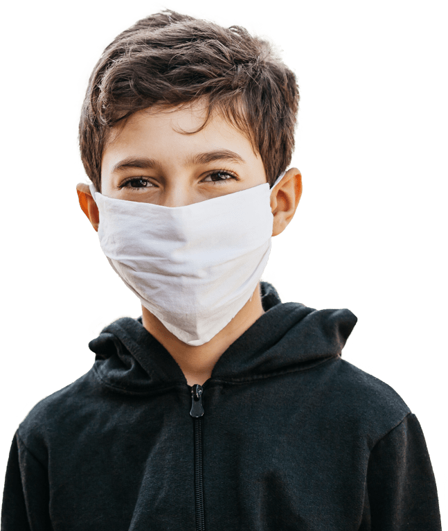 Boy wearing a mask.