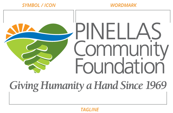 Pinellas Community Foundation logo diagram indicating icon and wordmark portions.