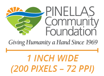 Pinellas Community Foundation logo diagram of minimum allowed size.