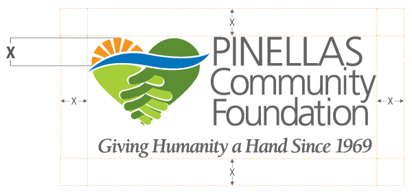 Pinellas Community Foundation logo diagram with minimum clear/buffer zones.